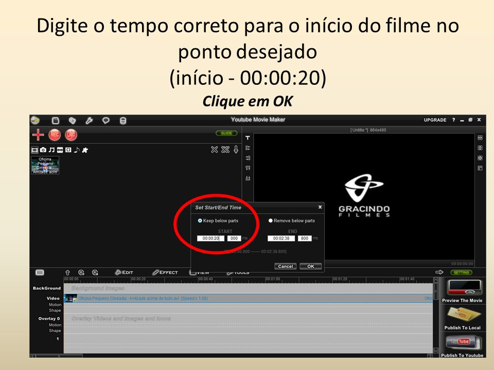 Para cortar no final do filme...Clique com o botão direito sobre o FILME para abrir o MENU.