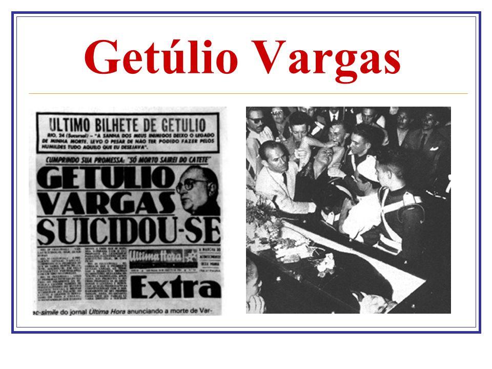 Carta -Testamento Na madrugada em que se suicidou, Getúlio Vargas teria escrito uma carta-testamento, na qual explicava aos brasileiros as razões de seu gesto extremo.Até hoje se discute a veracidade da autoria deste que é o mais importante documento da História recente do Brasil.