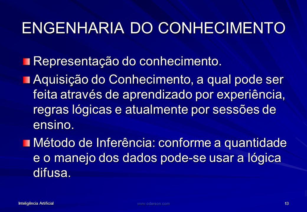 Inteligência Artificial www.oderson.com 13 ENGENHARIA DO CONHECIMENTO Representação do conhecimento.