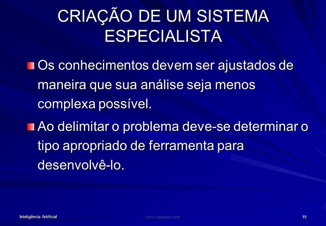 Inteligência Artificial www.oderson.com 15 CRIAÇÃO DE UM SISTEMA ESPECIALISTA Os conhecimentos devem ser ajustados de maneira que sua análise seja menos complexa possível.