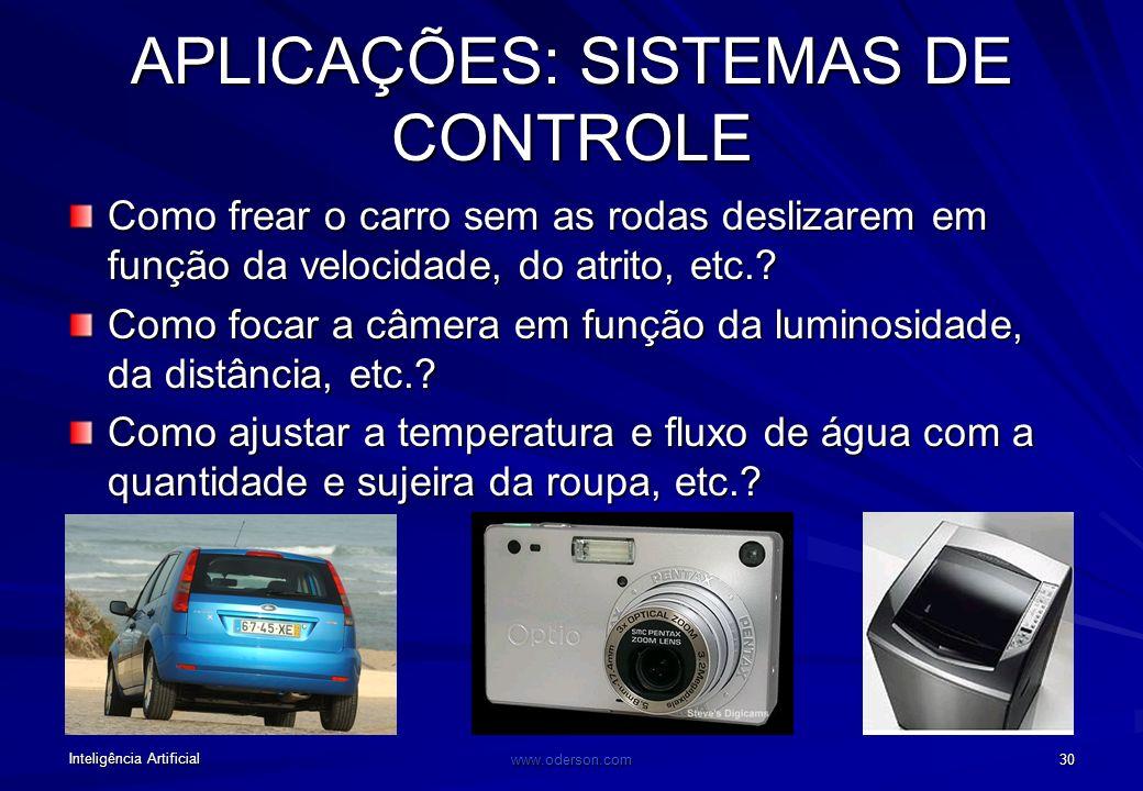 Inteligência Artificial www.oderson.com 30 Como frear o carro sem as rodas deslizarem em função da velocidade, do atrito, etc..