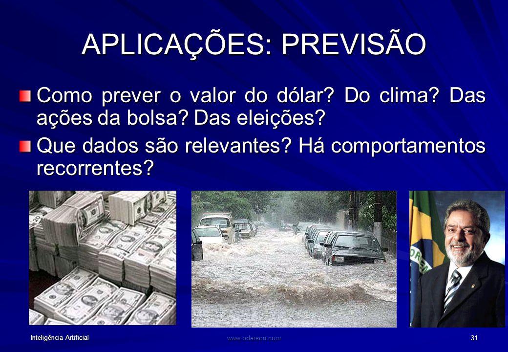 Inteligência Artificial www.oderson.com 31 APLICAÇÕES: PREVISÃO Como prever o valor do dólar.