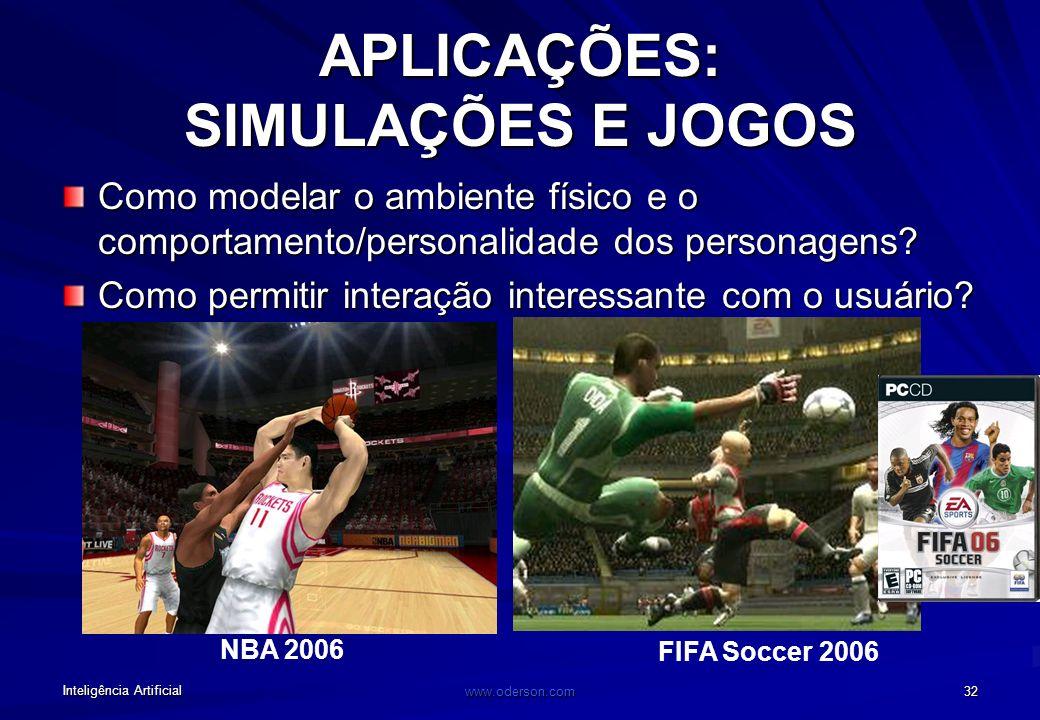 Inteligência Artificial www.oderson.com 32 FIFA Soccer 2006 NBA 2006 APLICAÇÕES: SIMULAÇÕES E JOGOS Como modelar o ambiente físico e o comportamento/personalidade dos personagens.