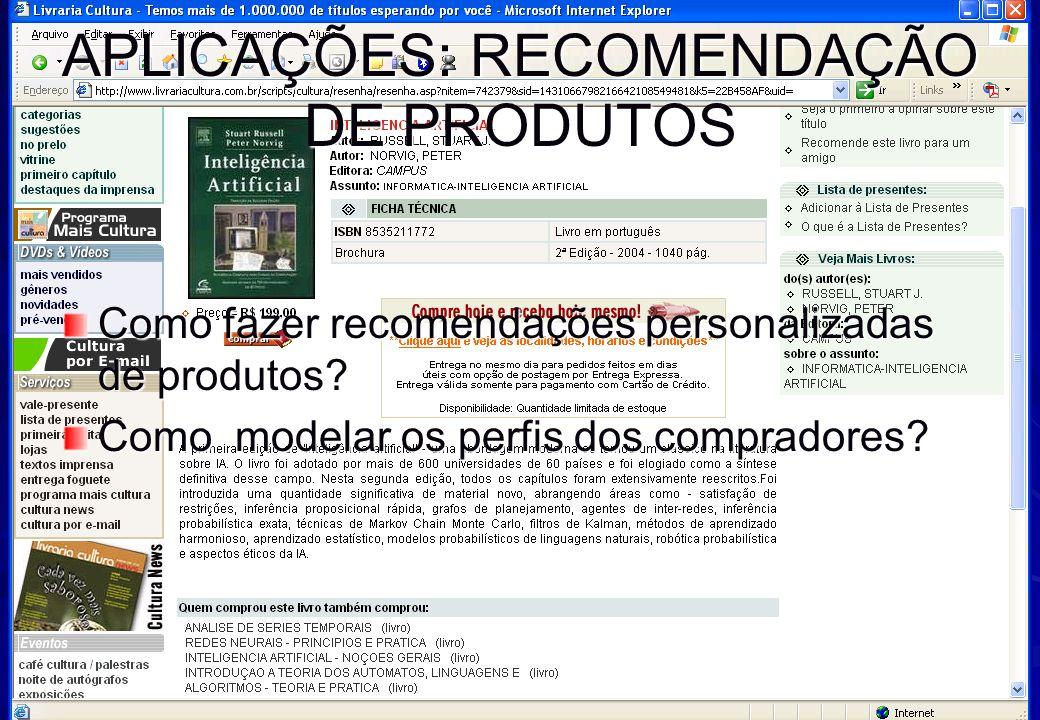 Inteligência Artificial www.oderson.com 33 APLICAÇÕES: RECOMENDAÇÃO DE PRODUTOS Como fazer recomendações personalizadas de produtos.