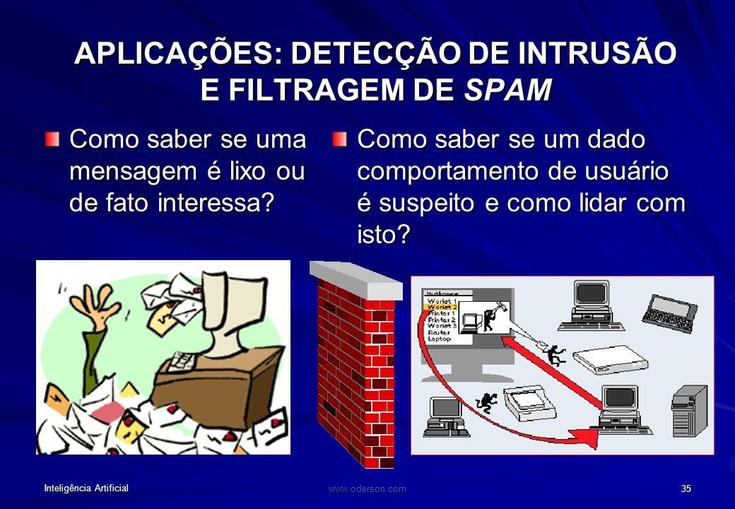 Inteligência Artificial www.oderson.com 35 APLICAÇÕES: DETECÇÃO DE INTRUSÃO E FILTRAGEM DE SPAM Como saber se uma mensagem é lixo ou de fato interessa.