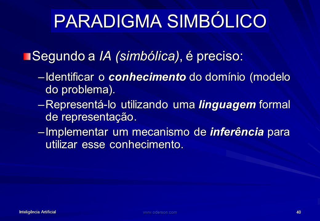 Inteligência Artificial www.oderson.com 40 PARADIGMA SIMBÓLICO Segundo a IA (simbólica), é preciso: –Identificar o conhecimento do domínio (modelo do problema).