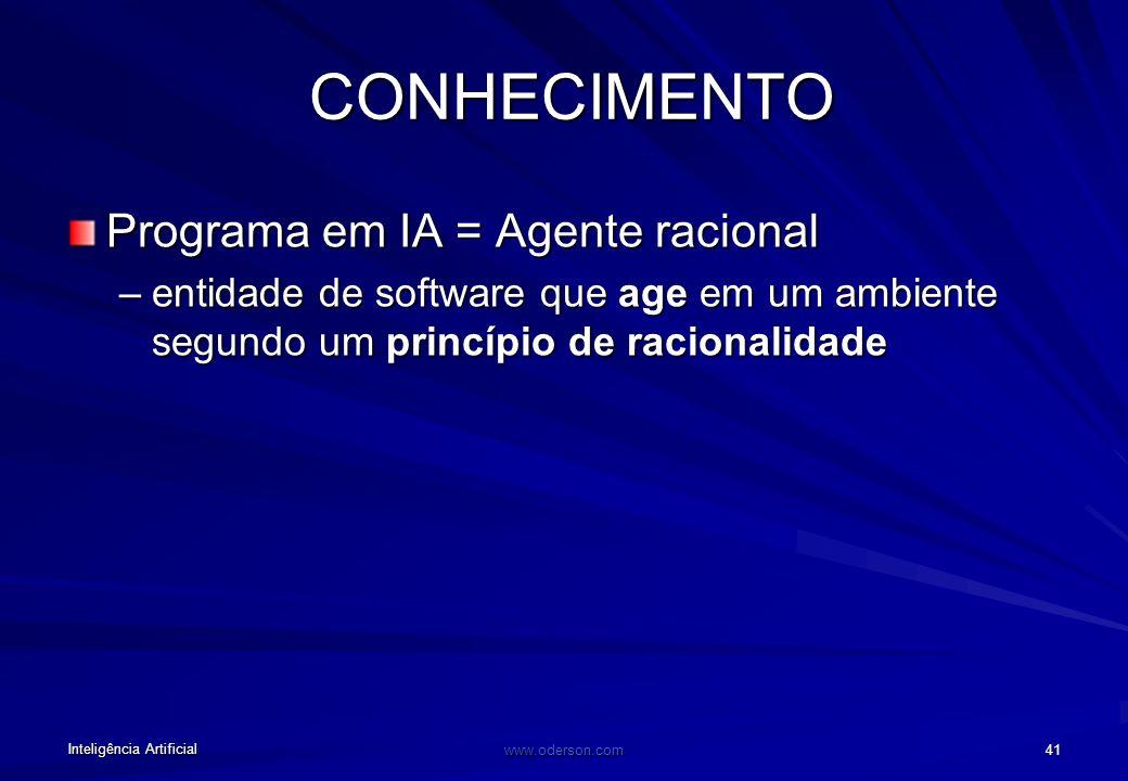 Inteligência Artificial www.oderson.com 41 CONHECIMENTO Programa em IA = Agente racional –entidade de software que age em um ambiente segundo um princípio de racionalidade
