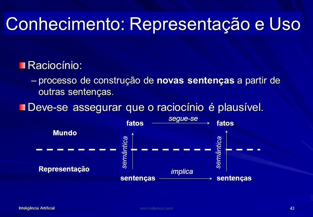 Inteligência Artificial www.oderson.com 43 Raciocínio: –processo de construção de novas sentenças a partir de outras sentenças.