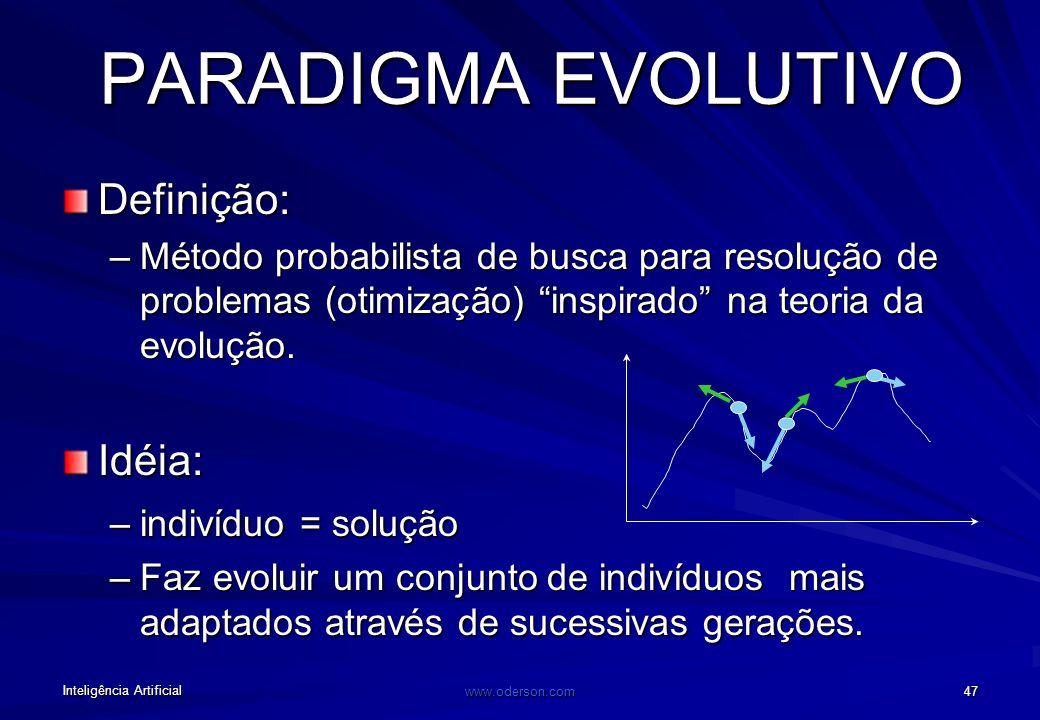 Inteligência Artificial www.oderson.com 47 PARADIGMA EVOLUTIVO Definição: –Método probabilista de busca para resolução de problemas (otimização) inspirado na teoria da evolução.