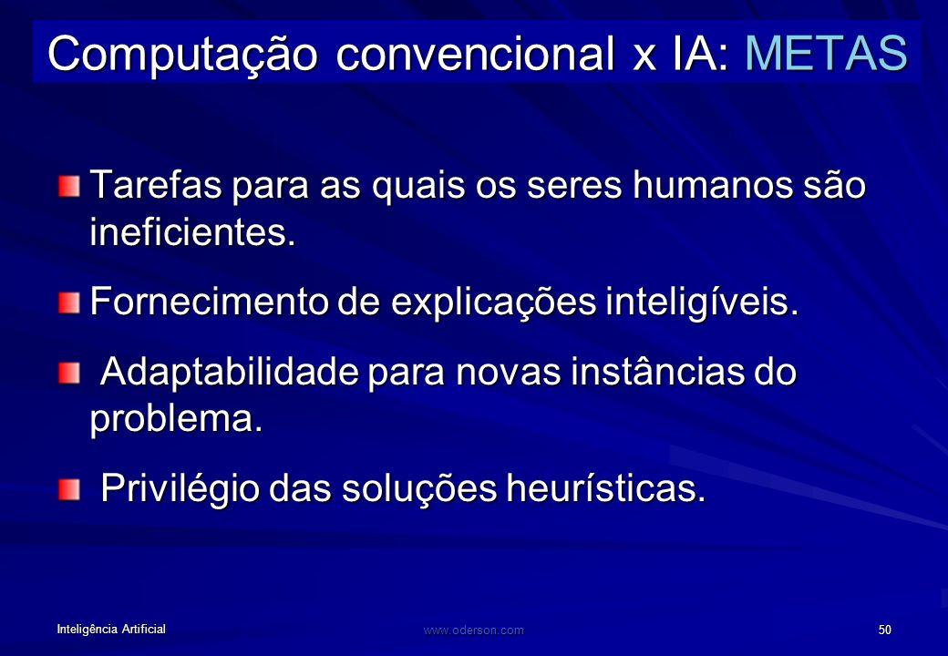 Inteligência Artificial www.oderson.com 50 Computação convencional x IA: METAS Tarefas para as quais os seres humanos são ineficientes.