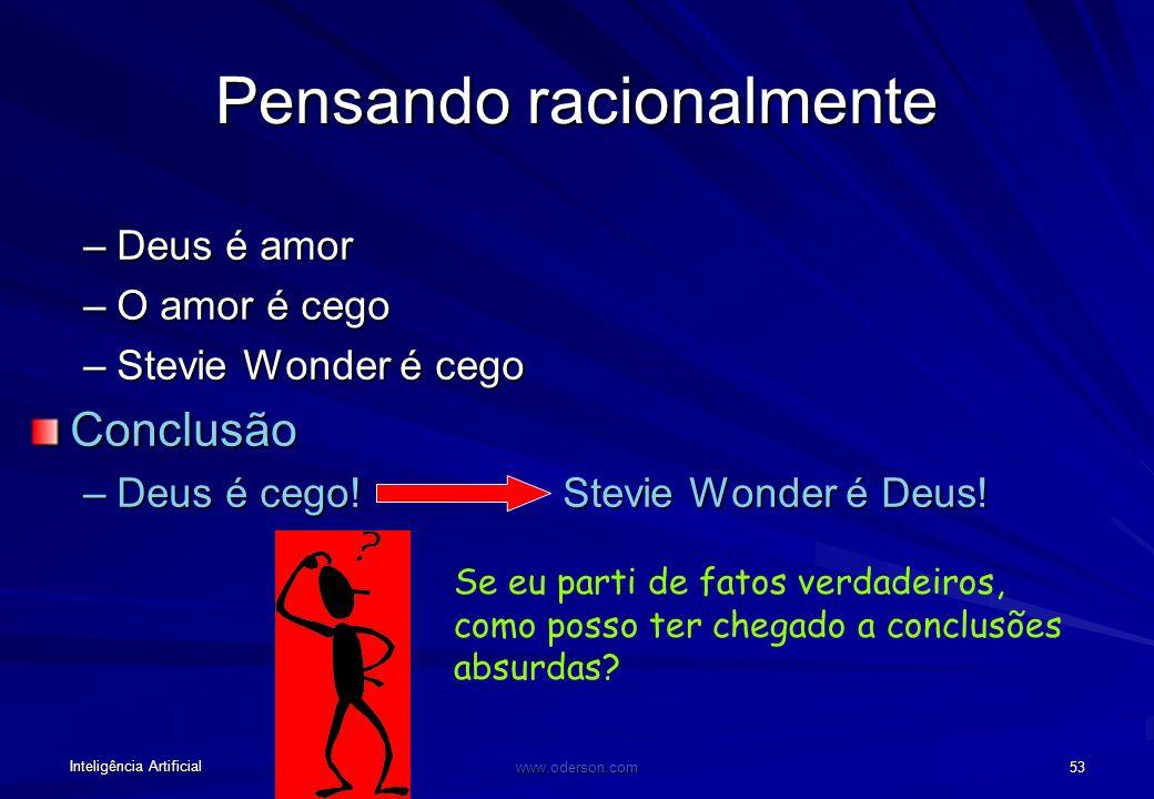 Inteligência Artificial www.oderson.com 53 Pensando racionalmente –Deus é amor –O amor é cego –Stevie Wonder é cego Conclusão –Deus é cego!Stevie Wonder é Deus.
