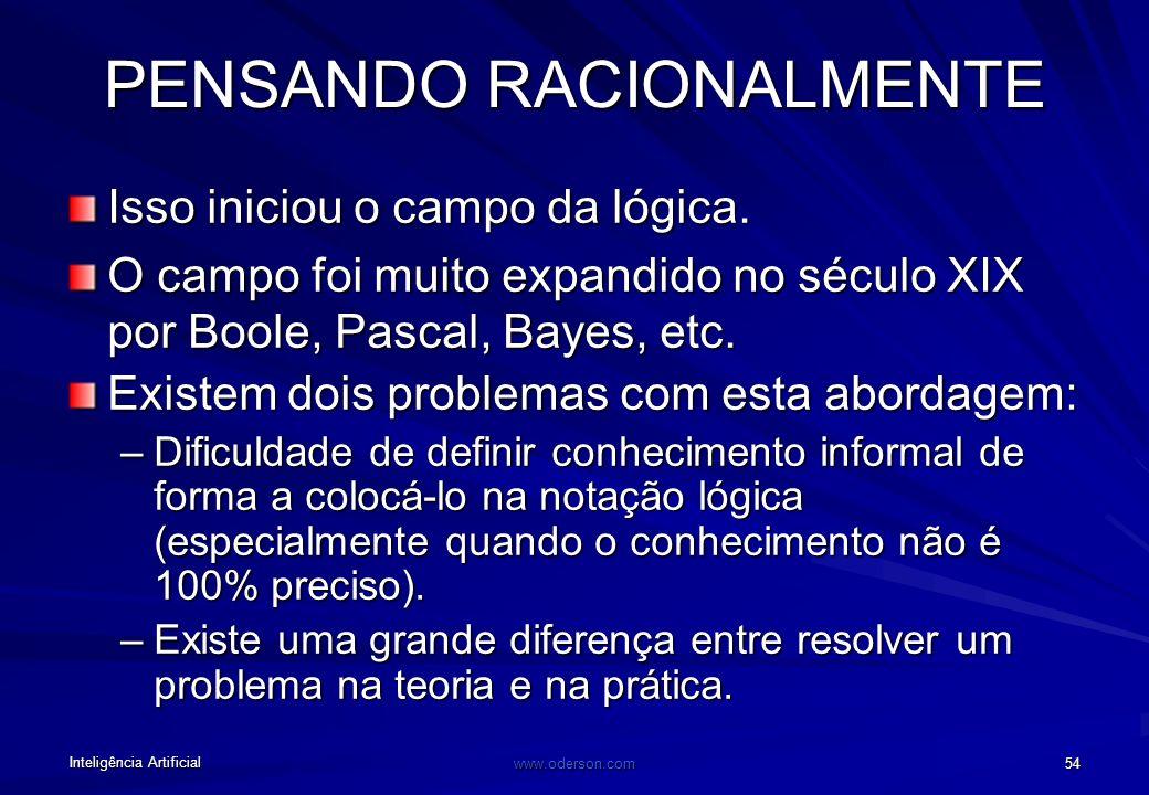 Inteligência Artificial www.oderson.com 54 PENSANDO RACIONALMENTE Isso iniciou o campo da lógica.