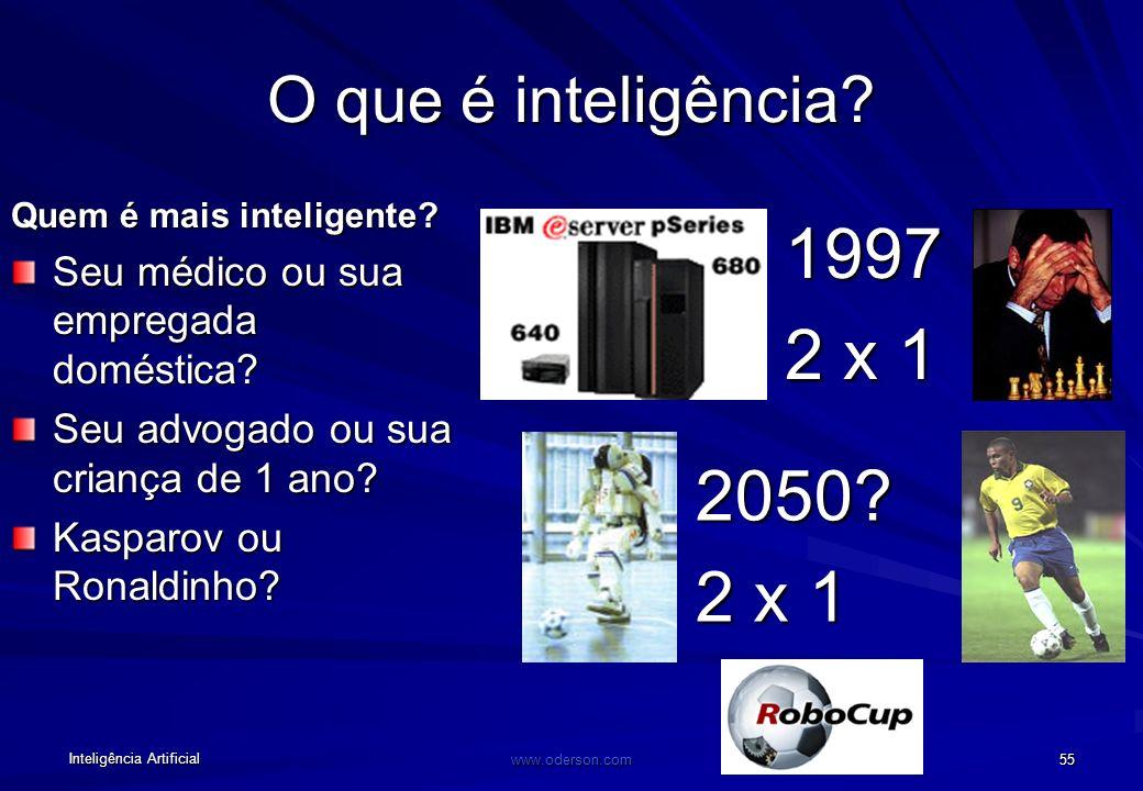 Inteligência Artificial www.oderson.com 55 O que é inteligência.