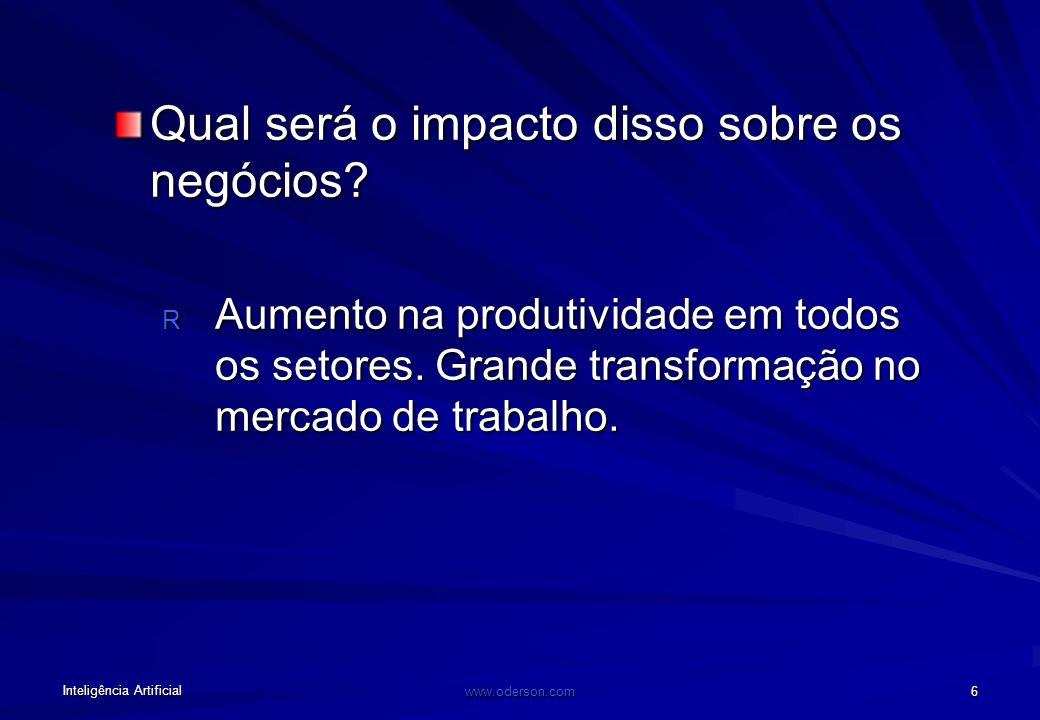 Inteligência Artificial www.oderson.com 6 Qual será o impacto disso sobre os negócios.