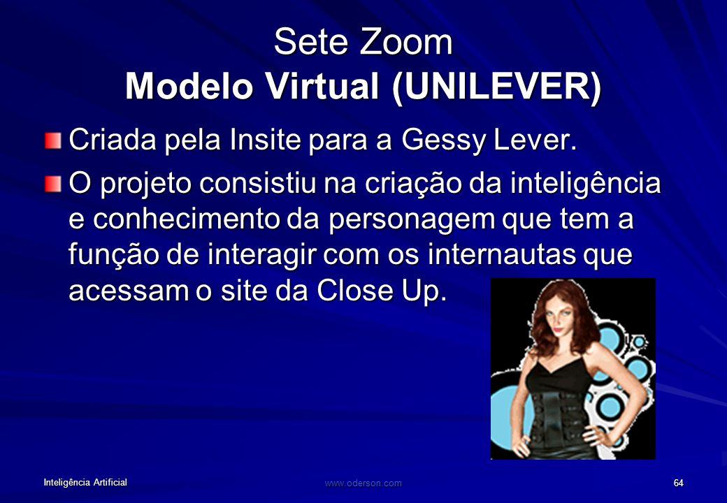 Inteligência Artificial www.oderson.com 64 Sete Zoom Modelo Virtual (UNILEVER) Criada pela Insite para a Gessy Lever.