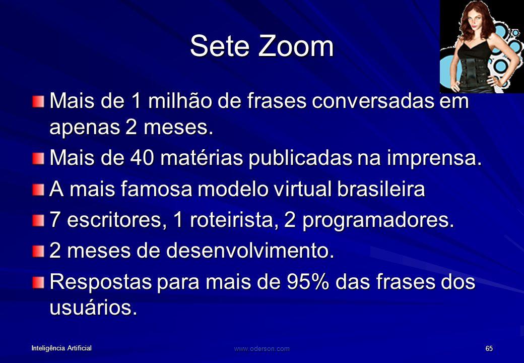 Inteligência Artificial www.oderson.com 65 Sete Zoom Mais de 1 milhão de frases conversadas em apenas 2 meses.