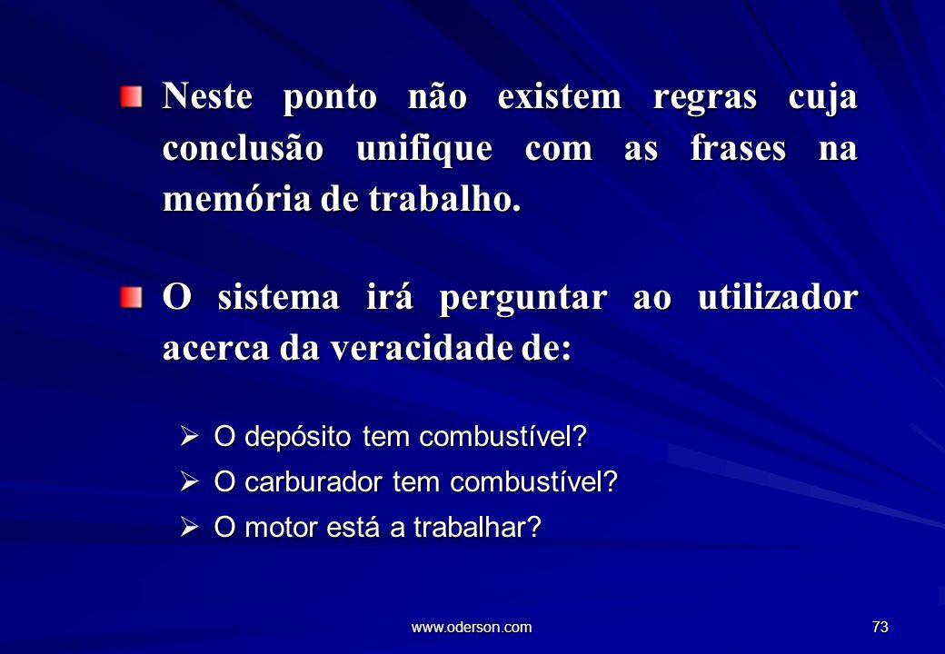 www.oderson.com 73 Neste ponto não existem regras cuja conclusão unifique com as frases na memória de trabalho.
