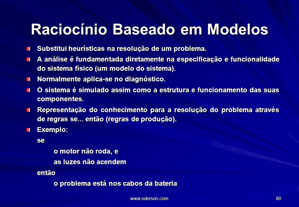 www.oderson.com 80 Raciocínio Baseado em Modelos Substitui heurísticas na resolução de um problema.