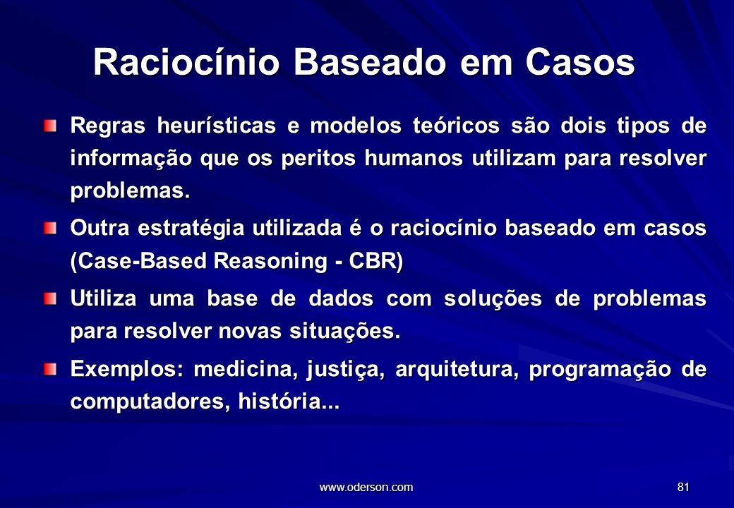 www.oderson.com 81 Raciocínio Baseado em Casos Regras heurísticas e modelos teóricos são dois tipos de informação que os peritos humanos utilizam para resolver problemas.