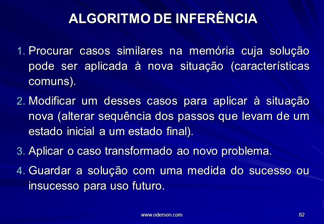 www.oderson.com 82 ALGORITMO DE INFERÊNCIA 1.