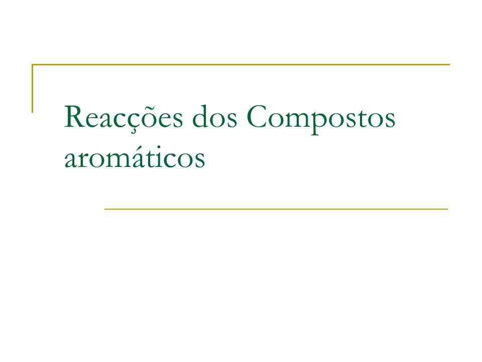 Substituição Electrofílica Aromática Electrófilo substitui o hidrogénio no anel de benzeno. =>