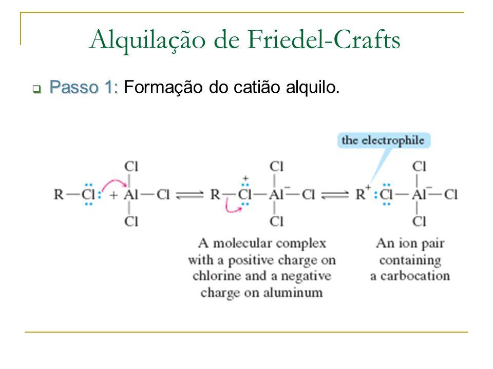 Passo 2: Passo 2: Reacção do catião com o anel aromático.