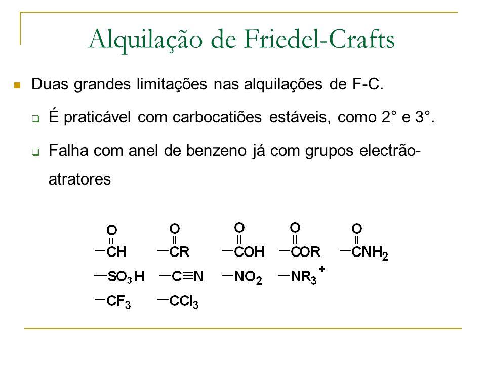 Acilação de Friedel-Crafts Tratamento do anel aromático com cloreto de ácilo na presença de AlCl 3.