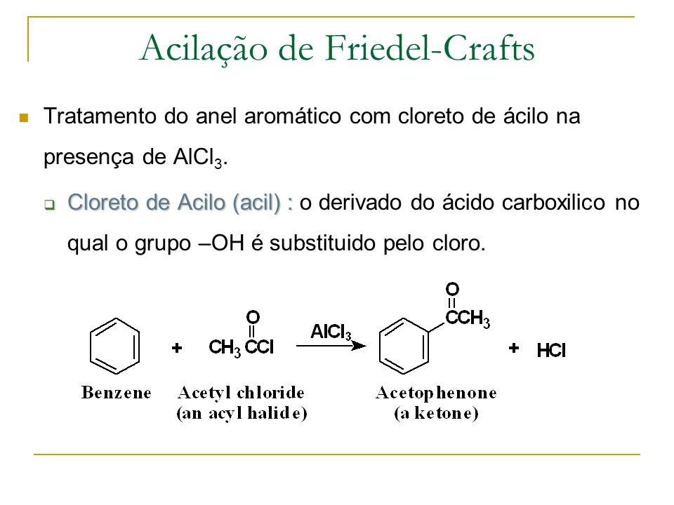 O electrofilo é um ião acilium gerado pela reacção do cloreto de ácidoe um ácido de Lewis (catalisador).