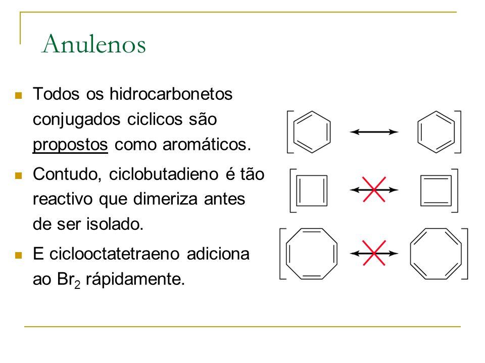 Requisitos para ser Aromático Estrutura tem que ser ciclica com ligações pi conjugadas.