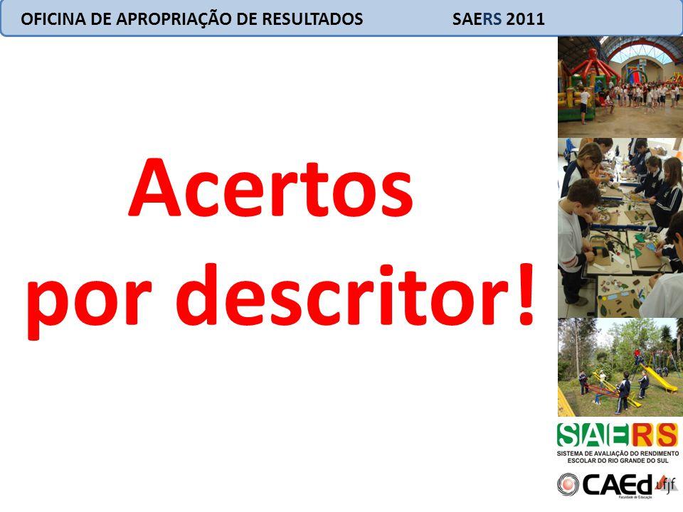 Interpretação pedagógica dos resultados Seção 2 OFICINA DE APROPRIAÇÃO DE RESULTADOS SAERS 2011