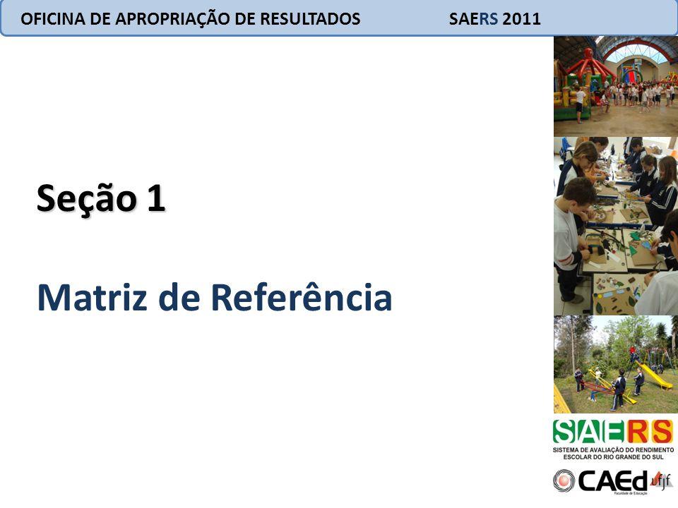 OFICINA DE APROPRIAÇÃO DE RESULTADOS SAERS 2011 Matriz de Referência para Avaliação Elemento base de origem dos testes utilizados no SAERS.