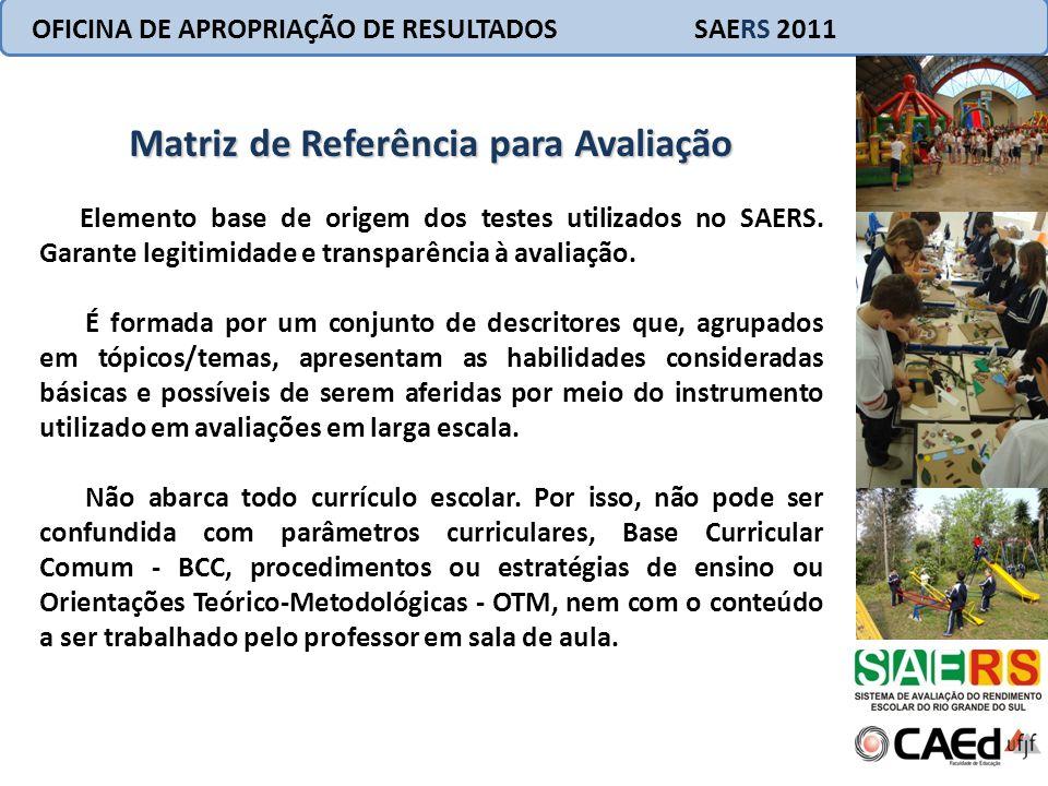 OFICINA DE APROPRIAÇÃO DE RESULTADOS SAERS 2011 Constitui um parâmetro de orientação; Apresenta o objeto da avaliação; Caráter de universalidade; Orienta a elaboração de itens.