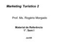 Prof. Ms. Rogério Morgado Marketing Turístico 2 Material de Referência 1°. Sem I Jan/08.