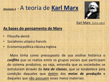 As bases do pensamento de Marx