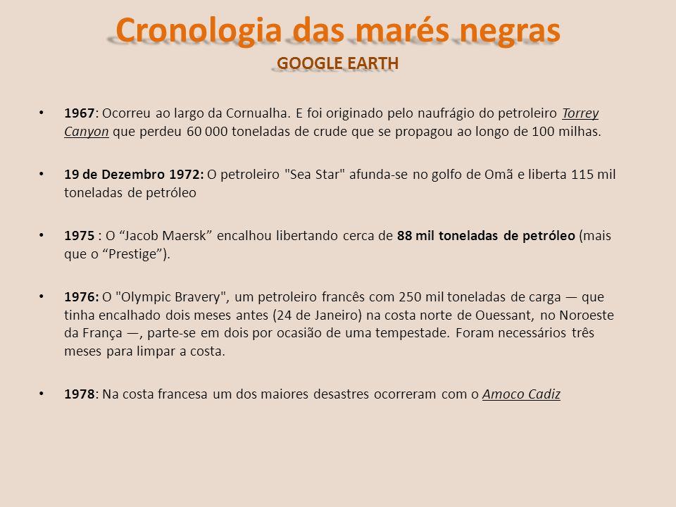 Cronologia das marés negras GOOGLE EARTH 1979: Um poço de extracção submarina, no campo Intox one ao largo do México, explodiu.