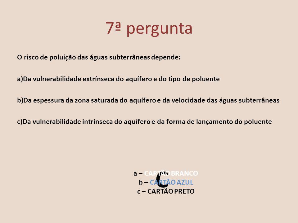 8ª pergunta O aproveitamento das águas subterrâneas tem aumentado muito nos últimos 20 anos devido: a)Ao aumento de lençóis de água b)À degradação da qualidade das águas superficiais c)À facilidade de bombeamento da água a – CARTÃO BRANCO b – CARTÃO AZUL c – CARTÃO PRETO B