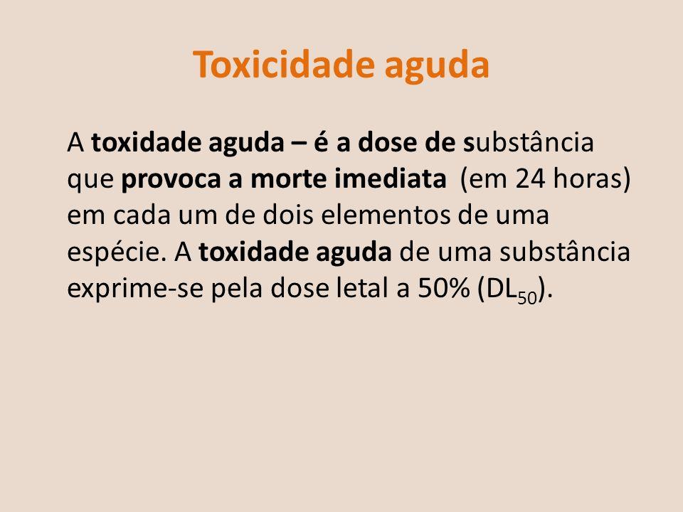 Toxicidade crónica A toxidade crónica de uma determinada substância é mais difícil de quantificar e pode originar perturbações mas não a morte imediata.