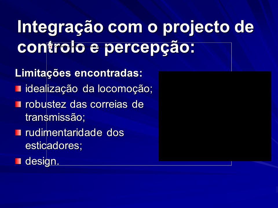 Plataforma construída: Graus de Liberdade Pescoço2 Braços3 (2x) Tronco2 Pernas6 (2x) Altura (mm) 600 Largura (mm) 250 Peso (kg) 6,219 Actuadores 22 Servos (14 Grande, 8 Pequenos)