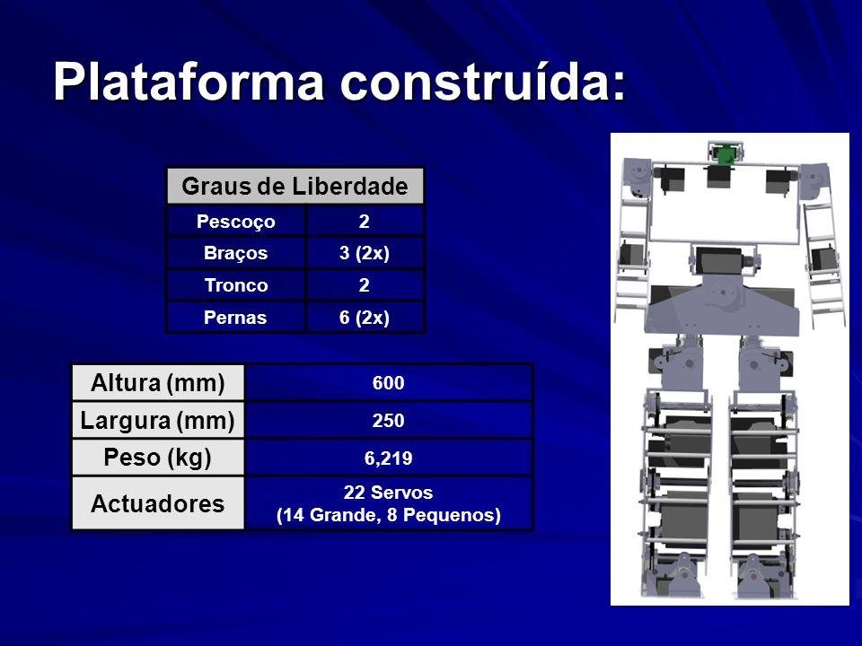 Resultados: Participação no encontro científico do Robótica 2005; Concepção, modelação e construção de uma plataforma humanóide; Desenvolvimento de software para determinação de centro de massa (estático) e padrões de locomoção; Desenvolvimento de software para comando do robot em malha aberta e leitura de potenciómetros.