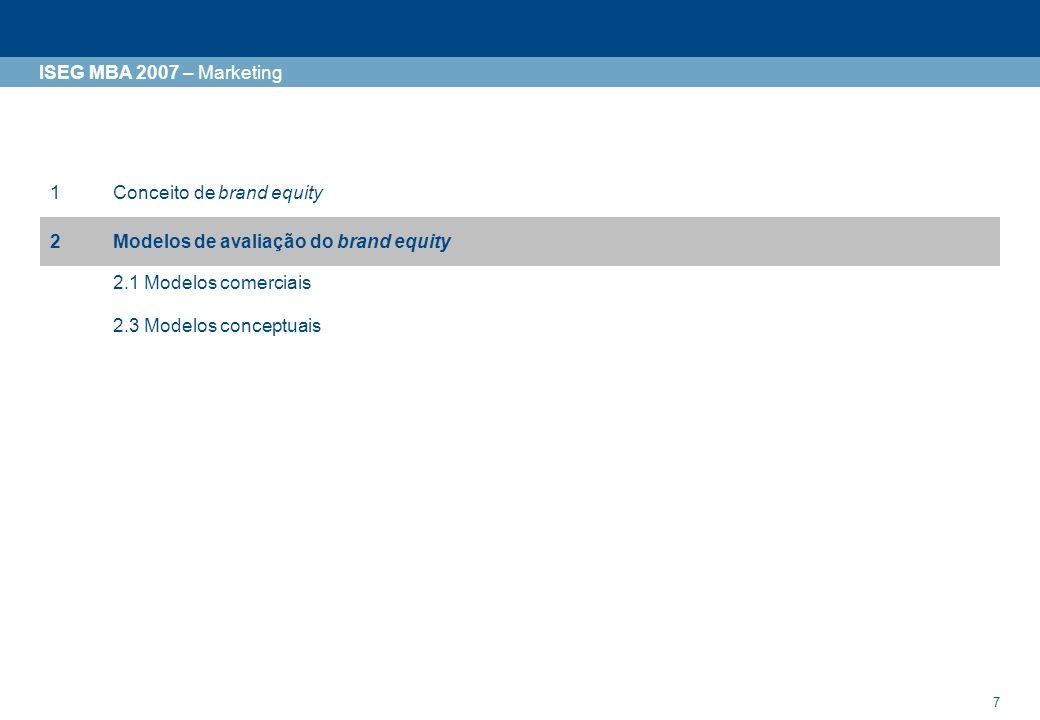 8 ISEG MBA 2007 – Marketing Modelos de avaliação do Brand Equity