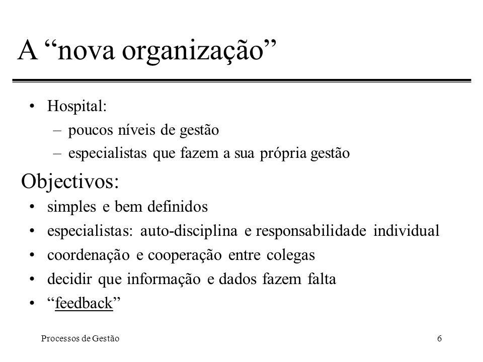 Processos de Gestão7 A nova organização Objectivos: criar visão unificada verdadeira OBI