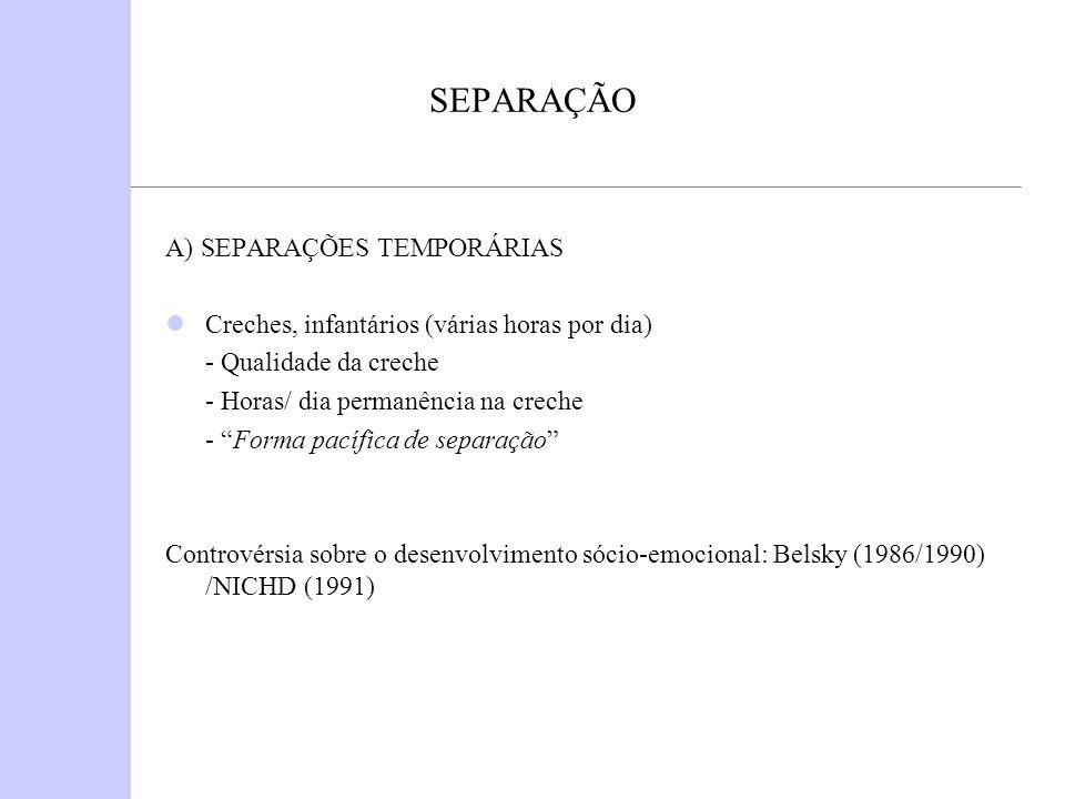 SEPARAÇÃO Hospitalização (Rutter, 1976) - 1 hospitalização (idade < 5 anos; duração inferior a 1 semana).