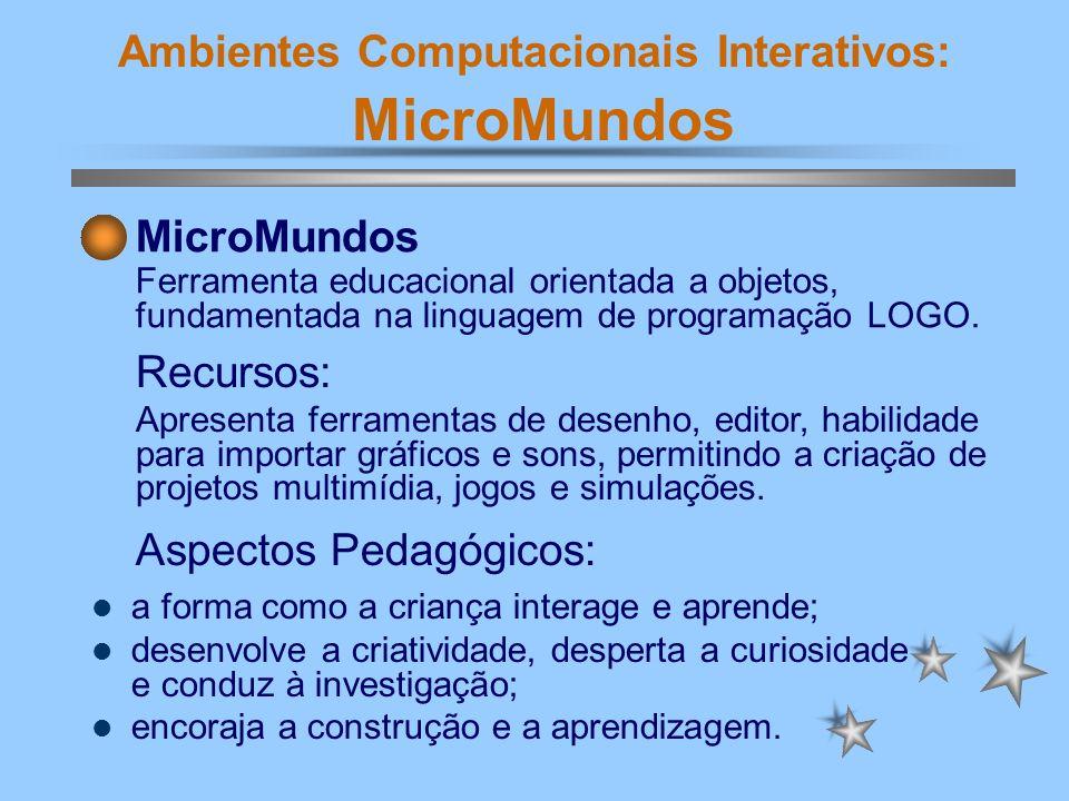 Ambientes Computacionais Interativos: MicroMundos No LOGO o aluno interage com um ambiente gráfico, que implementa um estilo computacional de geometria (geometria da tartaruga).