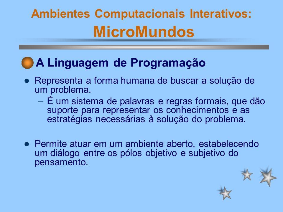 Ambientes Computacionais Interativos: MicroMundos Desenvolve a idéia de organização hierárquica e revela o estilo de estruturação mental e representação simbólica do aluno, através da seqüência de comandos logicamente estruturados.