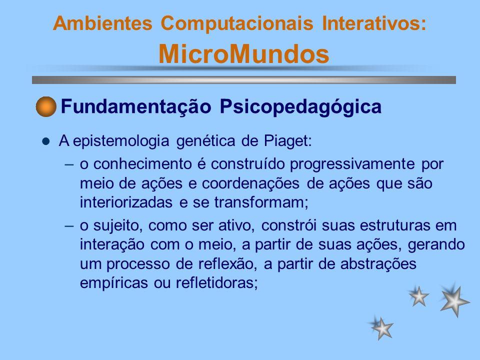 Ambientes Computacionais Interativos: MicroMundos Fundamentação Psicopedagógica A epistemologia genética de Piaget: –No trabalho com o LOGO, o processo de reflexão é estimulado e facilitado, pela comunicação direta com os objetos do ambiente.