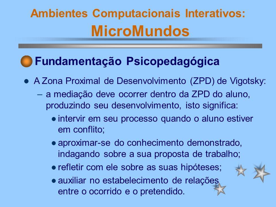 Ambientes Computacionais Interativos: MicroMundos MicroMundos - Ambiente de Pesquisa O MicroMundos, como ambiente de aprendizagem ativa trabalha, principalmente, com a exploração.