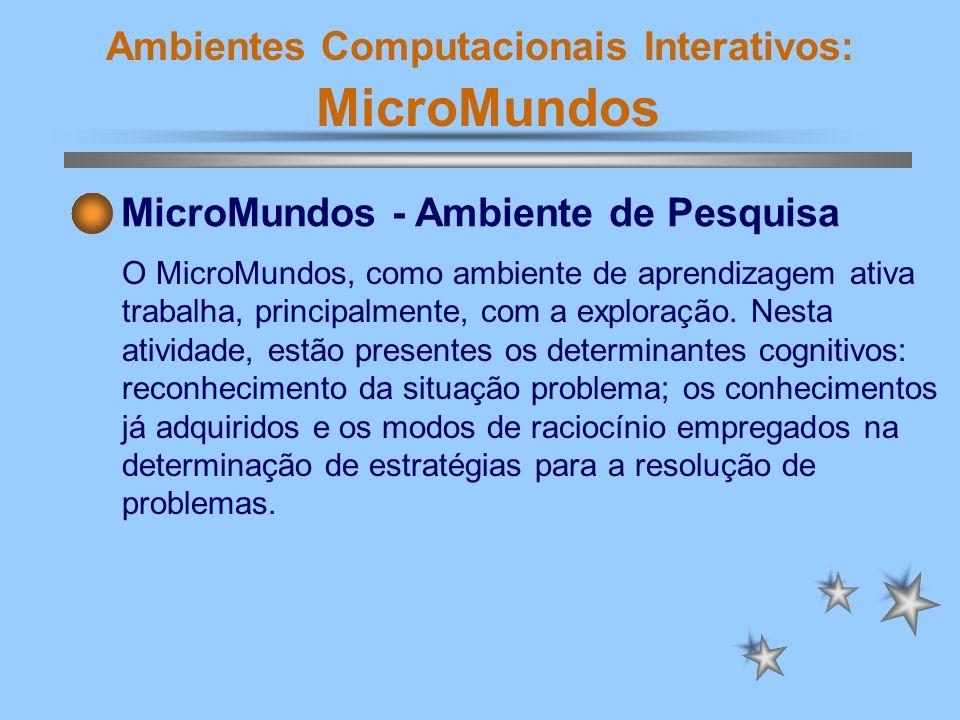Ambientes Computacionais Interativos: MicroMundos MicroMundos - Ambiente de Pesquisa Um ambiente de pesquisa é definido a partir de uma interpretação do problema, que está relacionada à compreensão do problema.