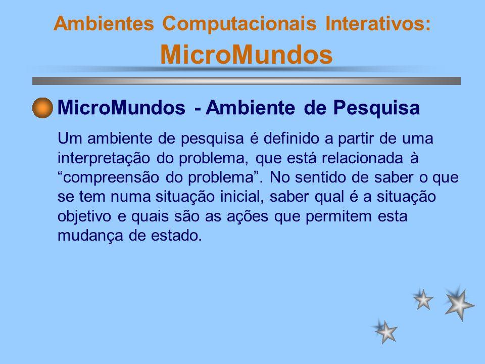 Ambientes Computacionais Interativos: MicroMundos MicroMundos - Ambiente de Pesquisa Quase toda atividade cognitiva pode ser construída como uma instância de um problema a ser resolvido.