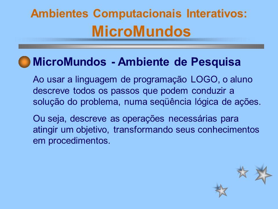 Ambientes Computacionais Interativos: MicroMundos Arquitetura Cognitiva É a descrição dos diferentes elementos que constituem o sistema cognitivo e suas relações.