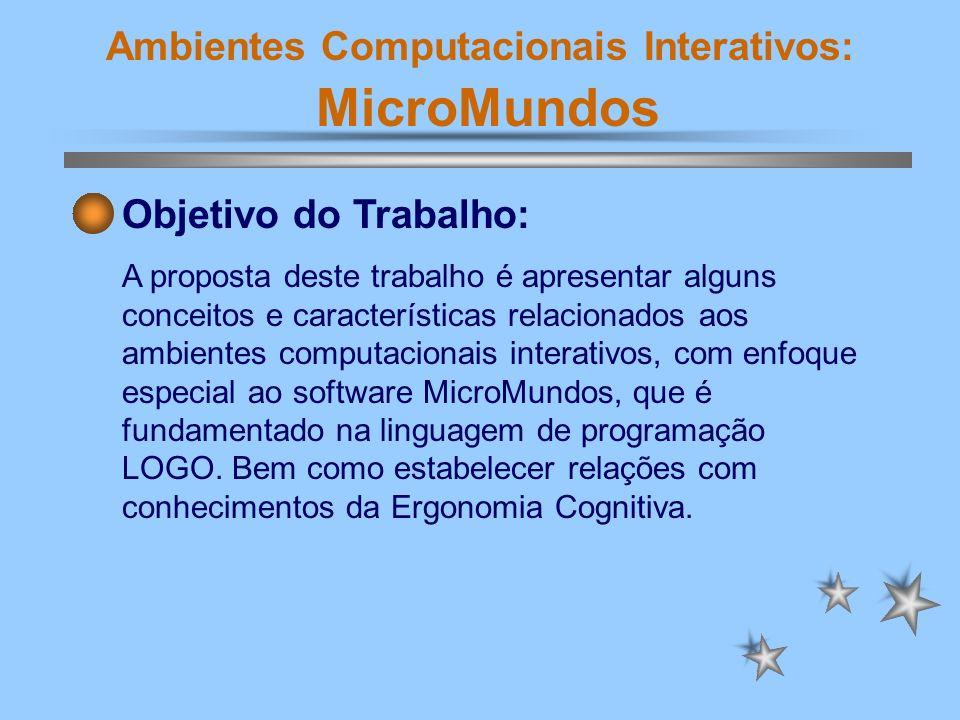 Ambientes Computacionais Interativos: MicroMundos pensar sobre o problema, falar sobre ele, brincar com ele, com suas regras ou prováveis soluções; buscar a conexividade do conhecimento - fazer conexões entre entidades mentais.